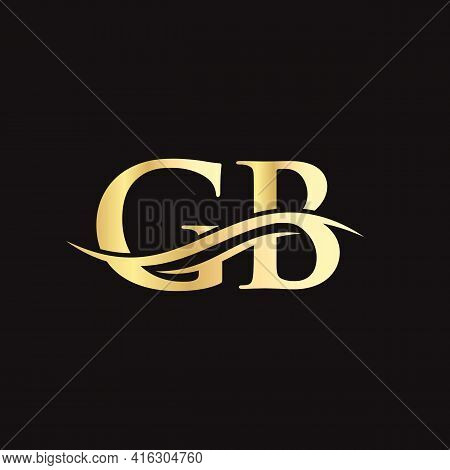 Water Wave Gb Logo Vector. Swoosh Letter Gb Logo Design For Business And Company Identity.