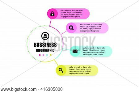 Presentation Business Infographic Design Template With Circle 4 Options. Vector Design Concept Label