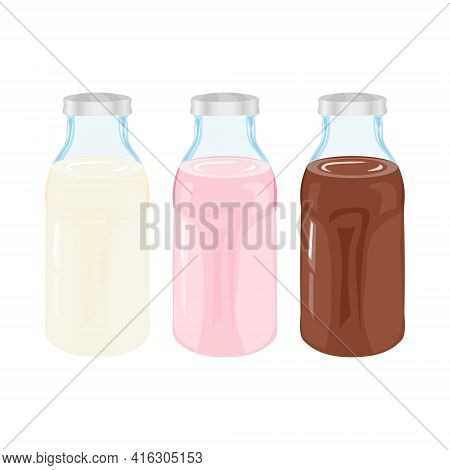 Bottles With Milk, Strawberry Milk And Chocolate Milk. Vector Illustration In Cartoon Style. Isolate