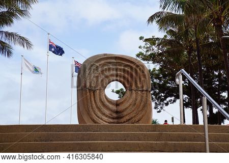 Yeppoon, Queensland, Australia - April 2021: Spirit Stone Sculpture To Commemorate The Centenary Of