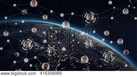 Composition of network of connections with business people photographs over globe. global networks of connections and technology concept digitally generated image.