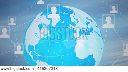 Composition of network of connections with digital people icons over globe. global networks of connections and technology concept digitally generated image.