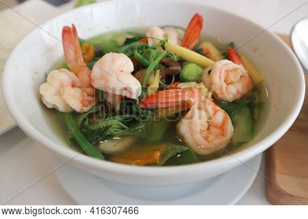 Shrimp Soup, Shrimp And Vegetable Soup Or Spicy Soup In Thai Style