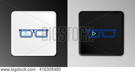 Line Smart Glasses Mounted On Spectacles Icon Isolated On Grey Background. Wearable Electronics Smar