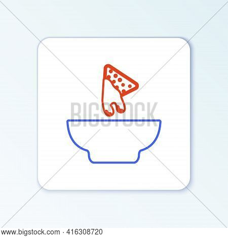 Line Nachos In Plate Icon Isolated On White Background. Tortilla Chips Or Nachos Tortillas. Traditio