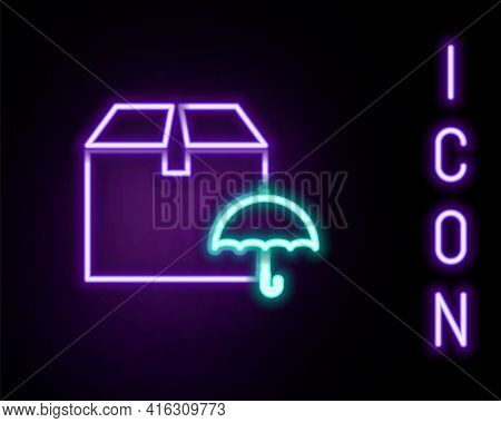 Glowing Neon Line Delivery Package With Umbrella Symbol Icon Isolated On Black Background. Parcel Ca