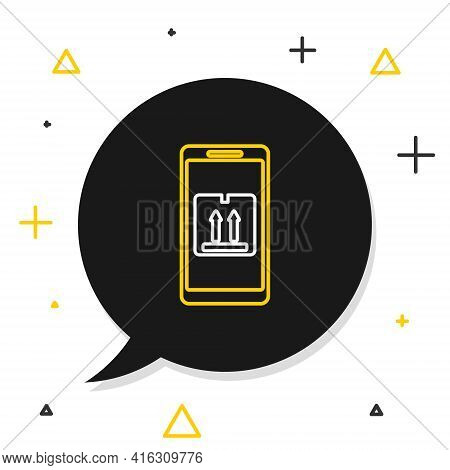 Line Mobile Smart Phone With App Delivery Tracking Icon Isolated On White Background. Parcel Trackin