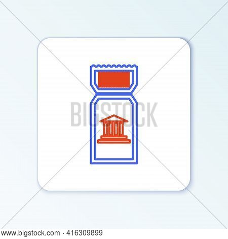 Line Museum Ticket Icon Isolated On White Background. History Museum Ticket Coupon Event Admit Exhib