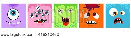 Abstract Faces. Monsters Square Emotional Face, Monsters Emoticons. Bright Diverse Cartoon Monsters