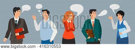 Business People Talking. Managers, Office Workers, Teachers. Conversation Man Woman In Suits. Office