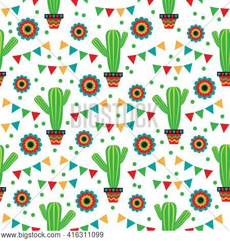 Seamless Pattern With Mexican National Characters:  Cactus And Flowers. Cinco De Mayo Symbols. Vecto