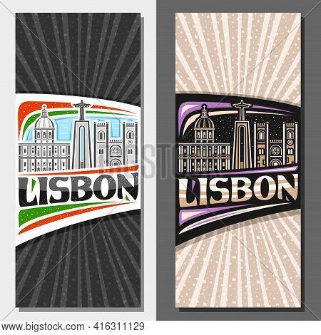 Vector Vertical Templates For Lisbon, Decorative Leaflets With Illustration Of European Lisbon City