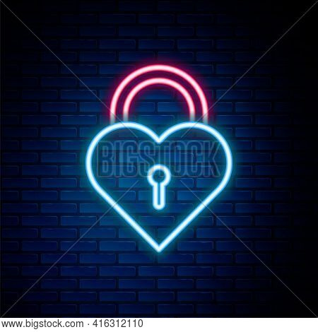 Glowing Neon Line Castle In The Shape Of A Heart Icon Isolated On Brick Wall Background. Locked Hear