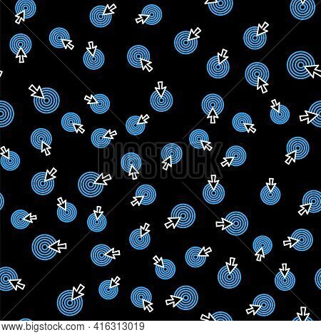 Line Target With Arrow Icon Isolated Seamless Pattern On Black Background. Dart Board Sign. Archery