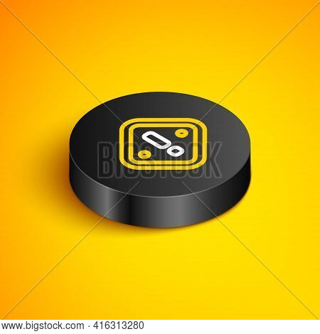 Isometric Line Exclamation Mark In Triangle Icon Isolated On Yellow Background. Hazard Warning Sign,