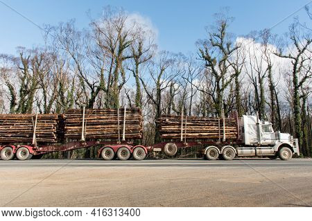Australian Bushfires Aftermath: A Truck With Burned Pines Logs Which Was Badly Damaged By Severe Bus