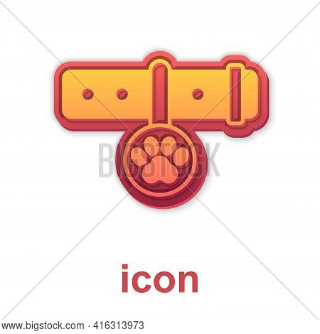 Gold Collar With Name Tag Icon Isolated On White Background. Supplies For Domestic Animal. Dog Or Ca