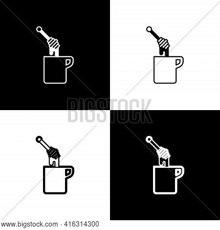 Set Honey Dipper Stick With Dripping Honey Icon Isolated On Black And White Background. Honey Ladle.