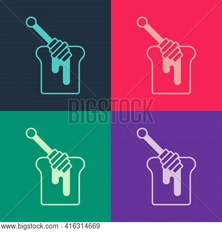 Pop Art Honey Dipper Stick With Dripping Honey Icon Isolated On Color Background. Honey Ladle. Vecto