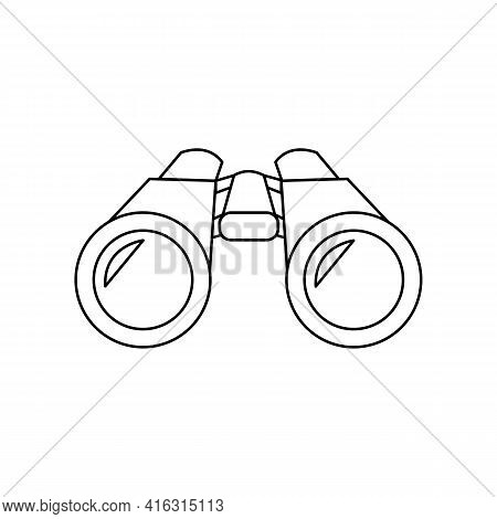 Linear Black White Binocular Icon. Can Be Used As A Sticker, Symbol Or Sign. Simple Stock Vector Ill