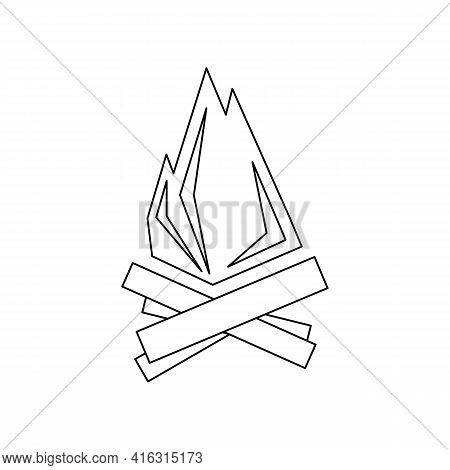 Linear Black White Bonfire Icon. Can Be Used As A Sticker, Symbol Or Sign. Simple Stock Vector Illus