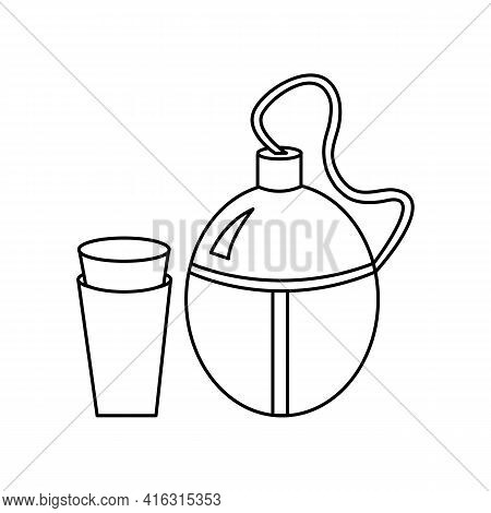 Linear Black White Flask For Water Icon. Can Be Used As A Sticker, Symbol Or Sign. Simple Stock Vect