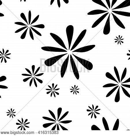 Seamless Simple Pattern Of Black Flowers, Abstract Texture, Vector Floral Print. Seamless Black-whit