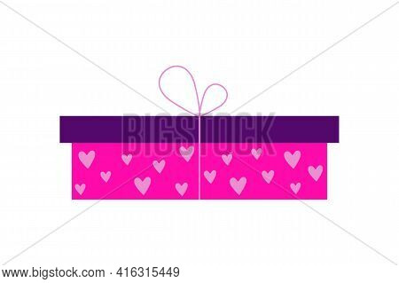 Wrapping Gift Box With A Surprise Wrapped In Pink, Purple Or Lilac Paper. Can Be Used As An Icon, Sy