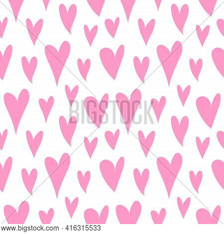 Cute Pink Hearts Pattern, Romantic Print. Love Texture, Seamless Pattern For Valentine\'s Day - For