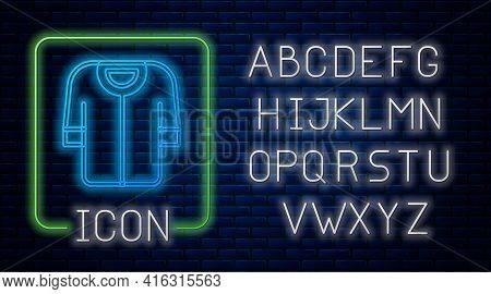 Glowing Neon Baseball T-shirt Icon Isolated On Brick Wall Background. Baseball Jersey, Sport Uniform