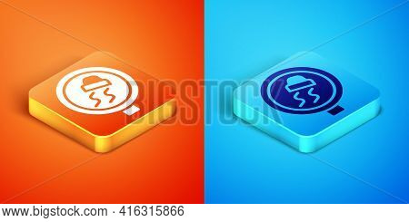 Isometric Slippery Road Traffic Warning Icon Isolated On Orange And Blue Background. Traffic Rules A