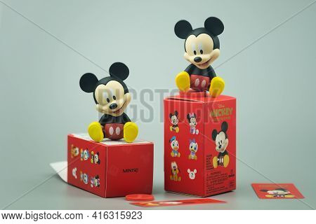 Bangkok, Thailand - April 10, 2021 : Mickey Mouse And Friends Figure Blind Box Collection Is Random