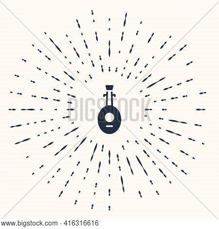 Grey Musical Instrument Lute Icon Isolated On Beige Background. Arabic, Oriental, Greek Music Instru