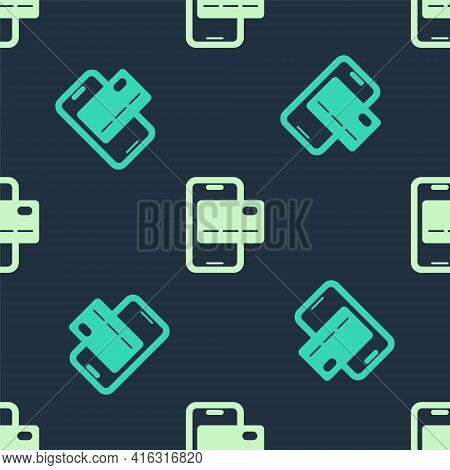 Green And Beige Mobile Banking Icon Isolated Seamless Pattern On Blue Background. Transfer Money Thr