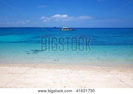 White Sand Tropical Beach On Malapascua Island, Philippines