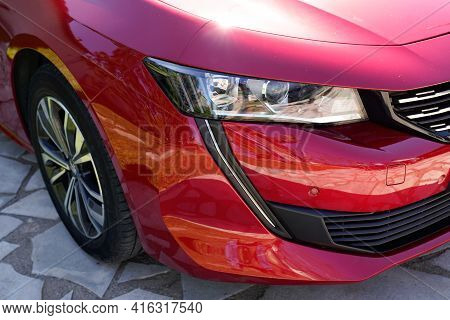 Bordeaux , Aquitaine France - 04 07 2021 : Peugeot 508 Headlight New Front Car And Wheel Red French