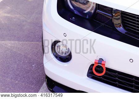 Bordeaux , Aquitaine France - 04 07 2021 : Chevrolet Camaro Muscle Race Car Front Tow Bar