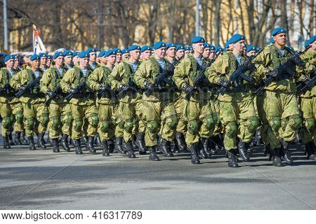 St. Petersburg, Russia - May 06, 2018: Russian Paratroopers March At A Rehearsal Of A Military Parad