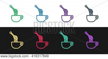 Set Line Honey Dipper Stick With Dripping Honey Icon Isolated On Black And White Background. Honey L