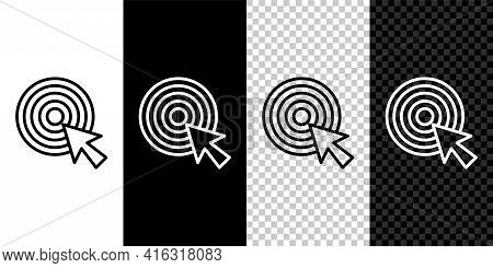 Set Line Target With Arrow Icon Isolated On Black And White, Transparent Background. Dart Board Sign