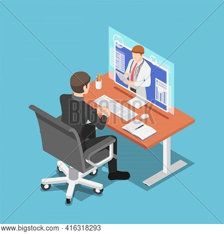 Flat 3d Isometric Businessman Video Conference With Doctor On Pc Monitor. Online Medical Consultatio