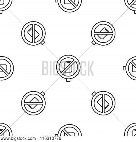 Grey Line No Cell Phone Icon Isolated Seamless Pattern On White Background. No Talking And Calling S