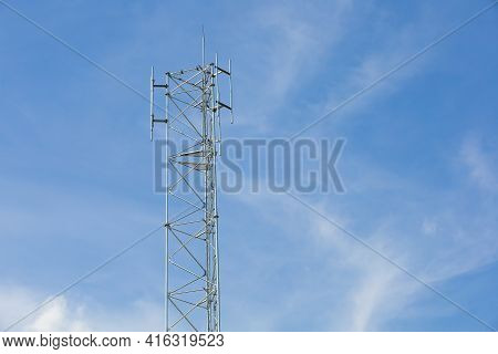 Antenna Repeater On Blue Sky