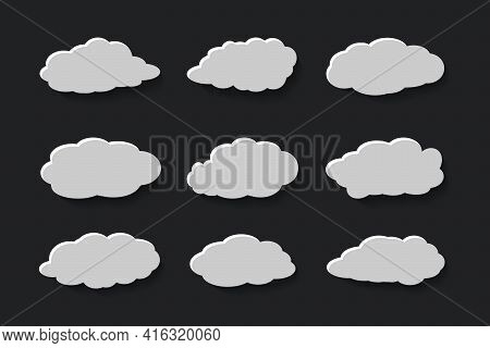 Flat Clouds Set In Papercut Style Collection