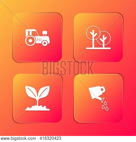 Set Tractor, Tree, Plant And Watering Can Icon. Vector