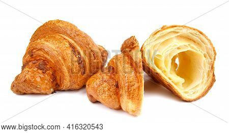Croissant And Sliced Croissant Isolated On White Background. Fresh Bakery .