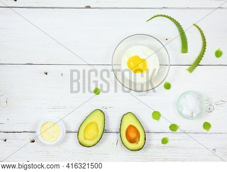 Natural Ingredients For Smoothing, Softening And Hydrating Your Hair.  Avocado, Aloe Vera,  Yogurt,