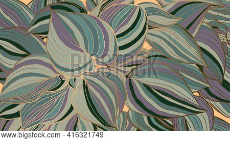 Striped Purple Green And Copper Metallic Outline Leaves Hand Drawn Background Vector. Luxury Art Dec