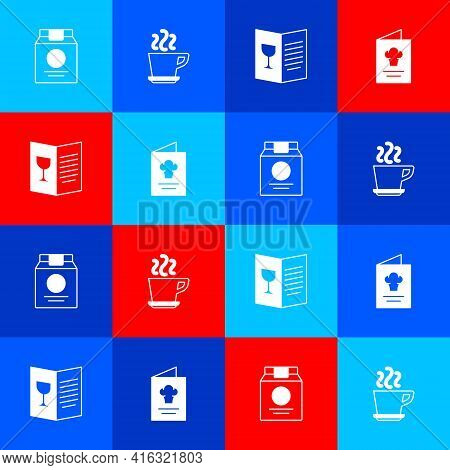 Set Online Ordering And Delivery, Coffee Cup, Restaurant Cafe Menu And Cookbook Icon. Vector