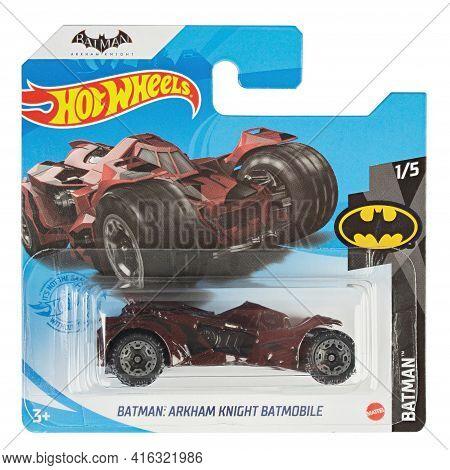 Ukraine, Kyiv - April 05. 2021: Hot Wheels Toy Car  Batman: Arkham Knight Batmobile Close Up Picture